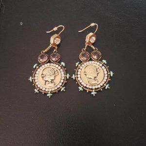 Gold coin style earrings